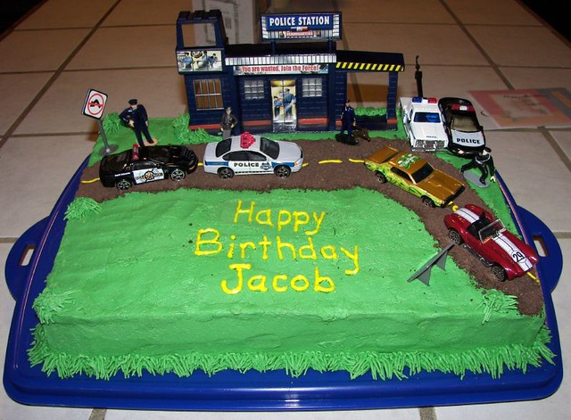 Surprising Police Birthday Cake Trisha Made This For Jacob You Know Flickr Funny Birthday Cards Online Alyptdamsfinfo