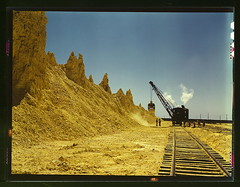 Nearly exhausted sulphur vat from which railroad cars are loaded, Freeport Sulphur Co., Hoskins Mound, Texas  (LOC) | by The Library of Congress