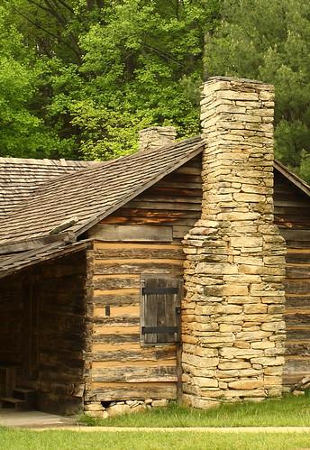 trees chimney nc spring log cabin rocks rustic northcarolina wilkescounty stonemountainstatepark davidhopkinsphotography