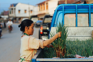 Woman Selling Green Onions from Blue Truck, Oudômxai Laos | by AdamCohn