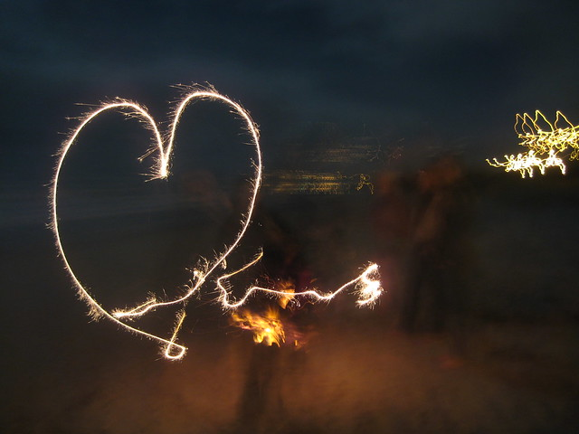 Playing with sparklers on the beach