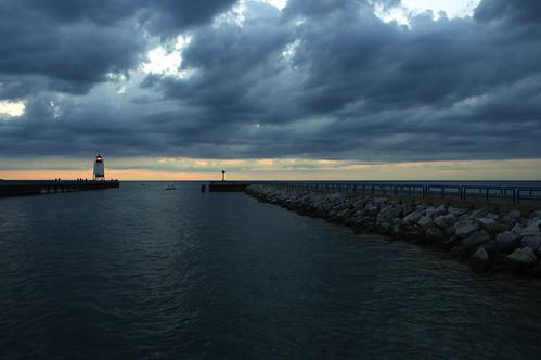sunset lighthouse clouds michigan lakemichigan charlevoix