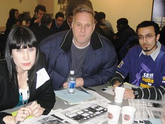 At Meredith's table, SEIU members talked about the need for service jobs on-site to pay a living wage.