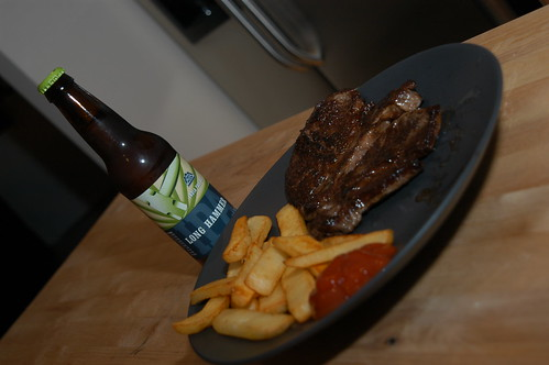 Steak, fries, beer