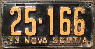 NOVA SCOTIA 1933 plate