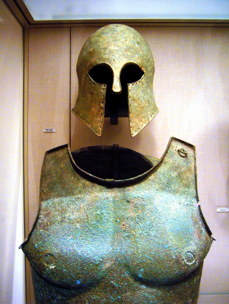 Ancient Greek bronze armor (helmet of Corinthian type and