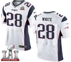 Nike Patriots #28 James White White Super Bowl LI 51 Men's Stitched NFL New Elite Jersey