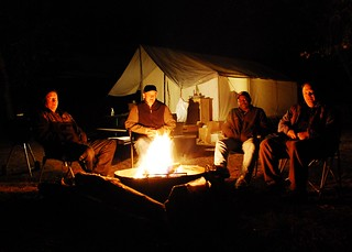 Keith, Dave, Ozie and Scott around the camp fire   by Scott Butner