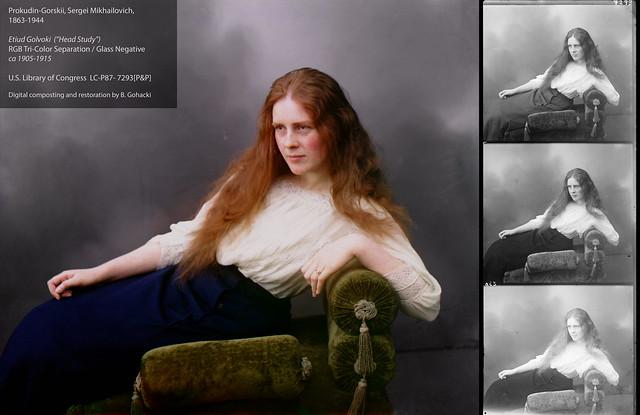 Antique (pre-1915!) Trichrome Color Photo Restoration - Ėtiud golovki(