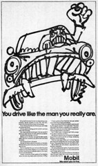 """Mobil ad """"You drive like the man you really are."""" 