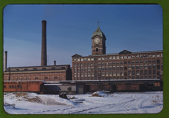 Railroad cars and factory buildings in Lawrence, Mass.  (LOC)