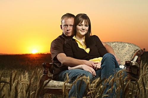 sunset arizona orange brown field sarah creek engagement couple wheat jerry sunsets queen gilbert strobist