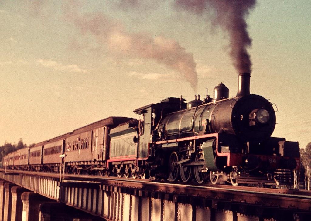 Passenger train at Petrie by Leonard J Matthews