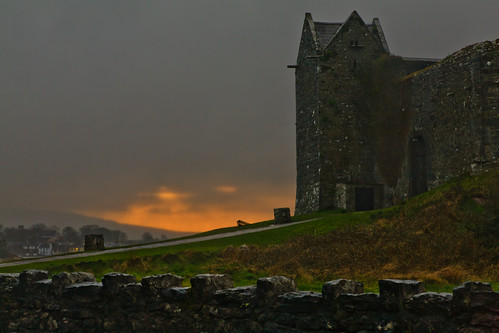 ireland sunset sky castle galway clouds overcast galwaybay dunguaire kinvarra