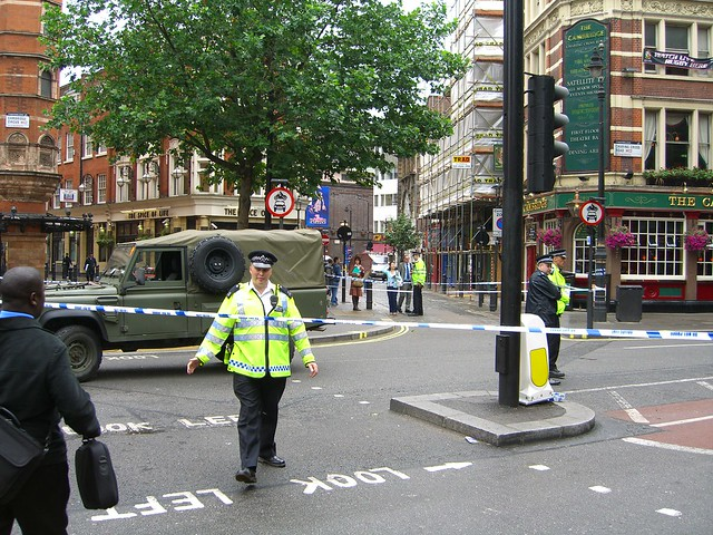 Charing Cross Road is cordoned off