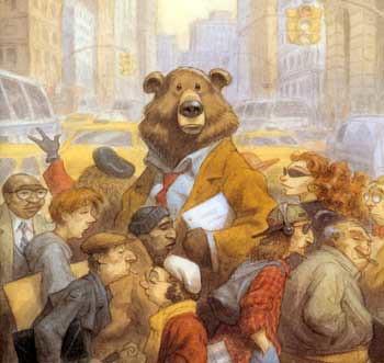 Detalle de la portada The Bear Over the Mountain, Peter de Sève (1997)