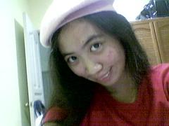 joan in dusty pink beret
