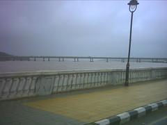 Towards NH-17. Porvarim bridge over Mandovi river in the background