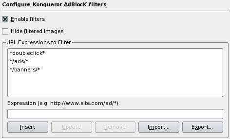KDE 3.5 Konqueror Adblock