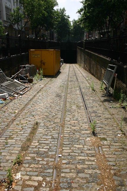 Abandoned tram lines in the heart of London