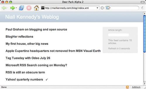 Visualizzazione di un feed in Firefox Deep Park