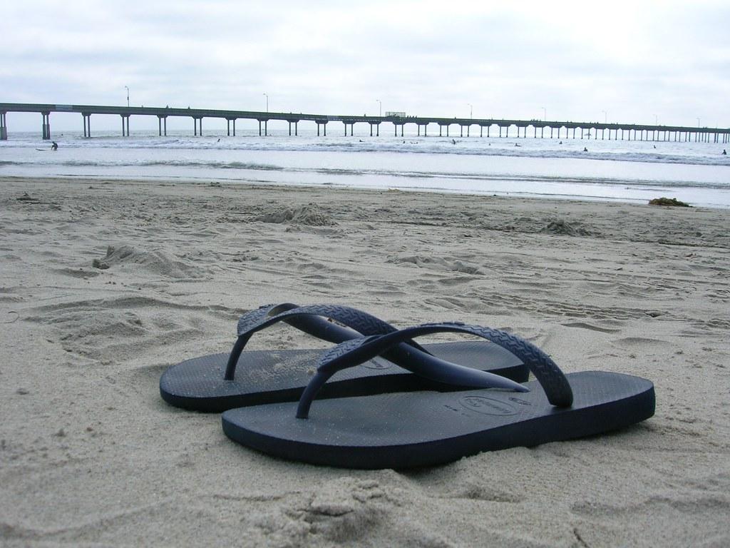 flip flap on ocean beach