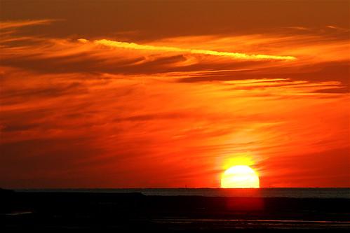 Coucher de soleil sur la mer le 7 août 2005