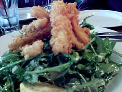 Squid and rocket salad