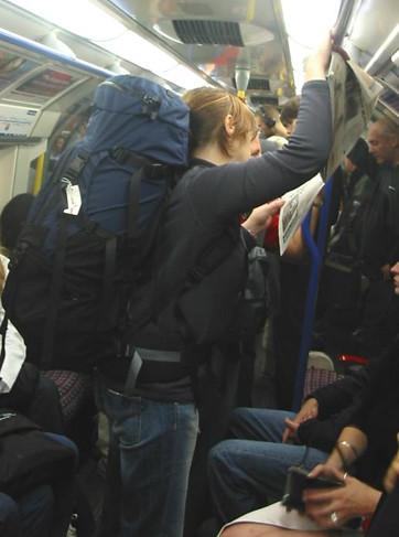 Balancing a rucksack on the tube