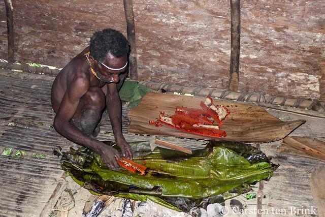 Preparing to bake the red fruit