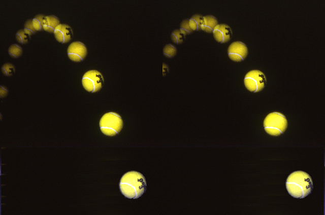 Tennis Ball Parabola (3D Cross-View)