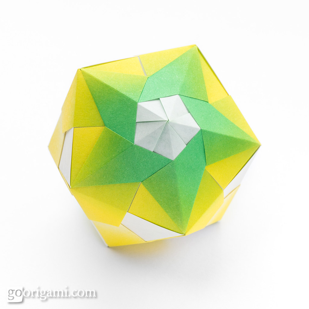 Origami: Triambic Icosahedron (Sonobe 30 units) - Instructions in ... | 1024x1024