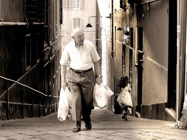 Morning grocery shopping in Genova