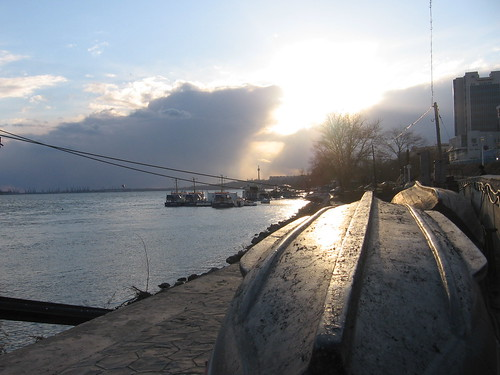 sunset water danube galati