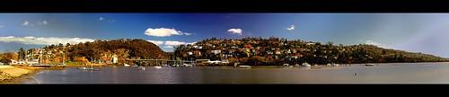 city trees houses sky urban autostitch panorama nature water clouds landscape boats nikon d70 harbour bridges australia tasmania launceston tamarriver polariser 14xp 1855mmf3556gii