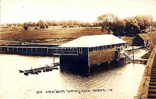 """New"" U. of M. Boat Livery, Ann Arbor, about 1915 -- a rar ..."