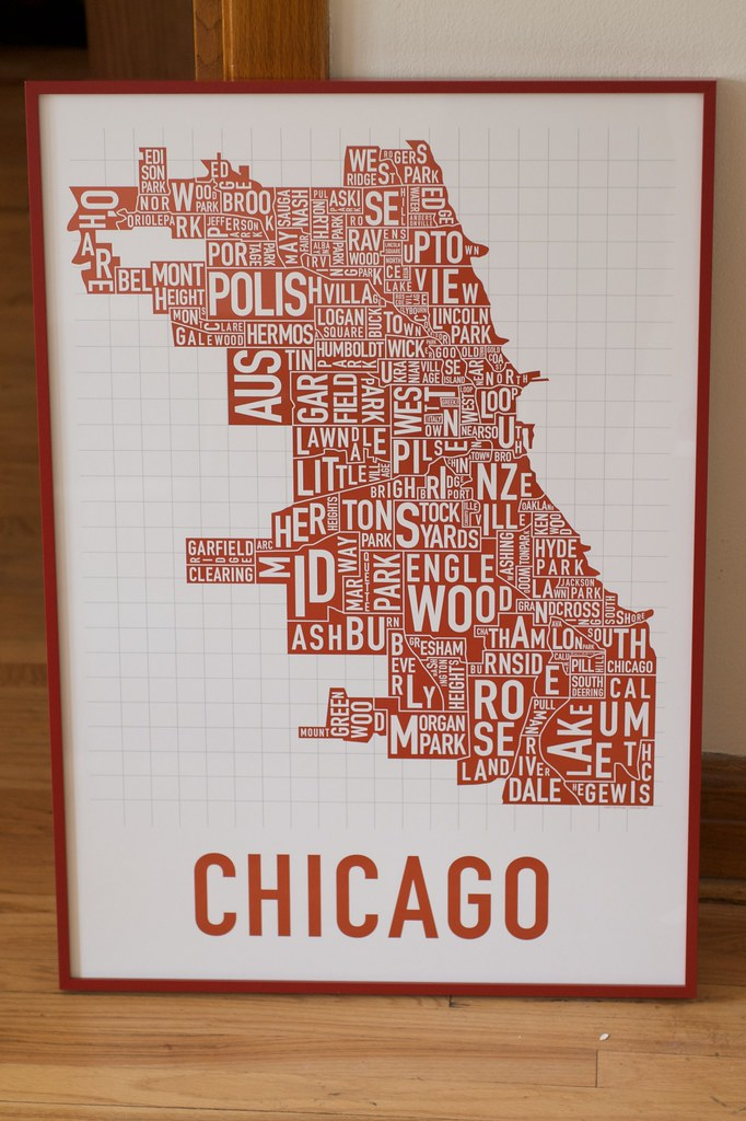 on chicago neighborhood map poster