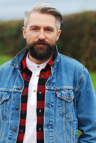 Casual weekend outfit \ denim jean jacket \ check (buffalo plaid) shirt \ skinny jeans \ brown lace up boots | Silver Londoner, over 40 menswear | by silverlondoner