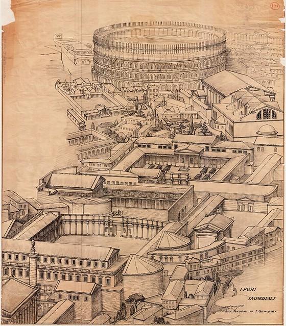 Rome - Model of Ancient Rome [Imperial Fora]. Arch. Italo Gismondi. Bird