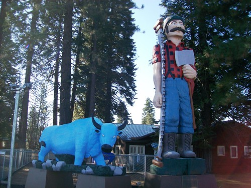 Paul Bunyan and His Blue Ox at the small logging town of Westwood, CA - bizzjohnson002x