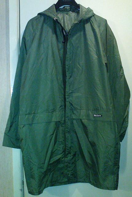 Long green nylon Peter Storm cagoule