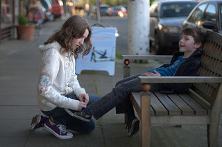 Sarah ties Jack's shoes | by Michael Newton