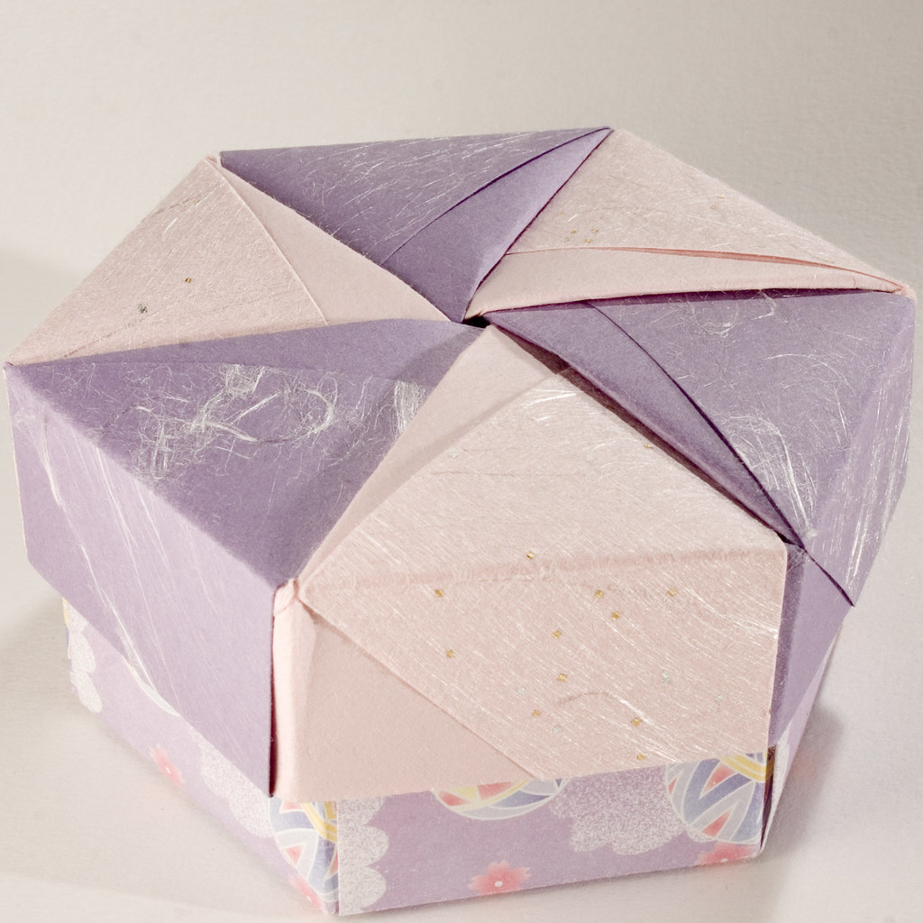 Decorative Hexagonal Origami Gift Box with Lid: # 02