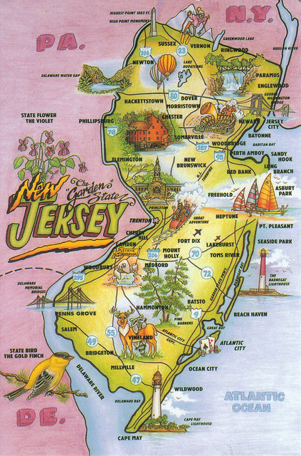New Jersey State Map Postcard