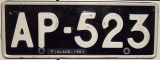 FINLAND c.1967 passenger plate