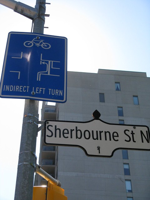Fri, 06/03/2011 - 19:32 - Indirect Turn Sign at Sherbourne and Bloor