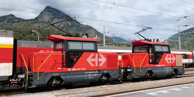 Swiss Federal Railways - Shunters 922 012-0 and 922 019-5 at Brig Station on the 17th September 2016