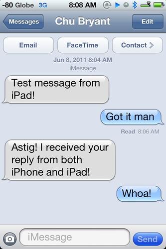FYI: #iMessage = cool  #iOS5 | by bnycastro