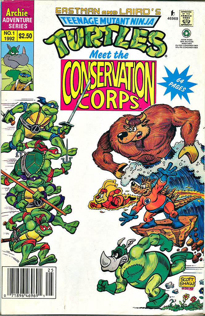 Teenage Mutant Ninja Turtles meet the CONSERVATION CORPS #1 { one shot } Cover by  SCOTT SHAW  (( 1992 )) by tOkKa