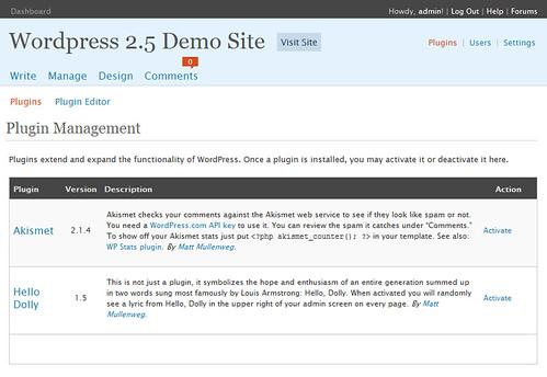 WordPress 2.5 Plugin Screen